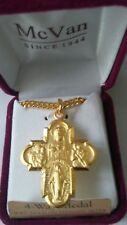 "Gold over Sterling Silver 1 3/8"" 4-Way Cross Medal & Chain-Laura Ingraham Cross"