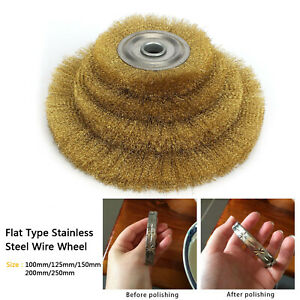100-250mm Soft Flat Brass Copper Wire Wheel Brush For Mini Drill Rotary Tools UK