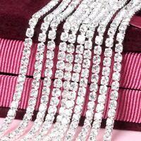 10 Yard Silver Crystal Glass Rhinestone Chain DIY Close Clear Trim Sewing Craft