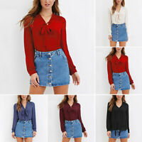 Women Bow Tie Chiffon Blouse Long Sleeve V-Neck Casual Tops Work Office Shirt