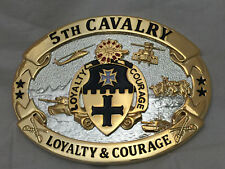 5th Cavalry Loyalty and Courage Army Solid Brass Belt Buckle (Oval 24KGold)