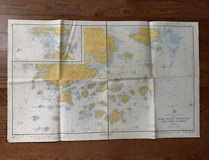 "Vintage 1960 Deer Island Casco Passage Maine Nautical Chart Map - 35""x 22"""