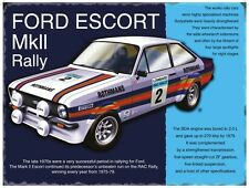 Ford Escort MkII Classic Rally Car, Large Metal/Tin Sign, Picture, Plaque