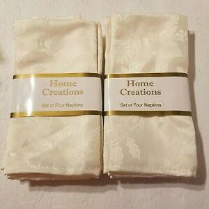 Ivory Poinsettia Holly Jacquard Damask Polyester Cloth Napkins Set of 8 NEW