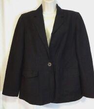 Kate Hill Petite womens lined blazer, size 8P, 52% linen, black, one button
