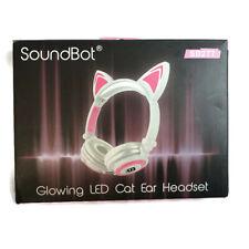 SoundBot Glowing LED Cat Ear foldable Wired Over-Ear Headphone SB277-WHT/PNK