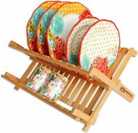 Bamboo 2 Tier Dish Drying Rack Collapsible Dish Drainer, Dish Holder for Kitchen
