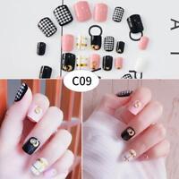 24X Kinds Style Acrylic Fake Fingernails Full Cover False Nail Art With Glu C7F9