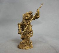 Rare China Myth Bronze Sun Wukong Monkey King Hold Stick Fight Statue