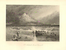 England, St. Michael's Mount Cornwall, Seascape, Vintage, 1875 Antique Print.