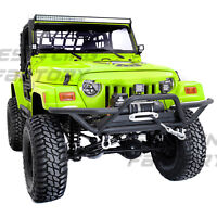 Black Tubular Rock Crawler Front Bumper+Winch Plate for 97-06 Jeep Wrangler TJ