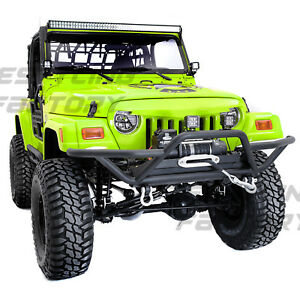 Black Tubular Rock Crawler Front Bumper+Winch Plate for 97-06 Jeep Wrangler TJ