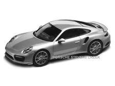 Porsche 911 Turbo Coupe Rhodium Silver w/ Saddle Brown Diecast Model 1:43 Scale