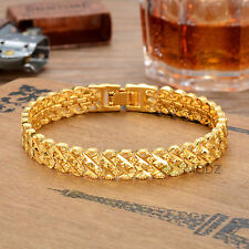 Hip Hop Men 24k Gold Plated Finish Heavy Cuban Thick Chain Buckle Bracelet Gift