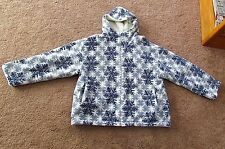womens multi color blue white Country Woods jacket hoodie snowflake winter 16/18