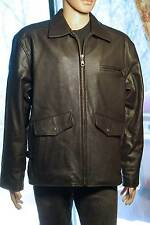 Leather Bomber Jacket Size 46 Long/Tall Dark Brown Flight Coat NEW condition