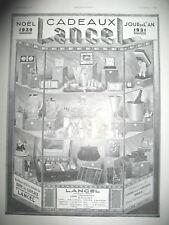 PUBLICITE DE PRESSE LANCEL CADEAUX NOËL JOUR DEE L'AN AD 1930