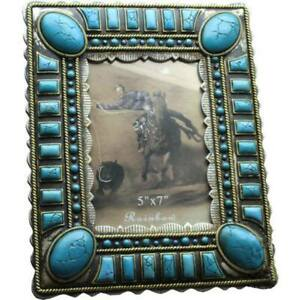 Western Decor Lodge Cabin Faux Turquoise Picture Frame 5 X 7