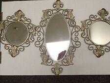 Vintage Homco / Home Interiors Unique Metal Frame Mirror Set Of 3