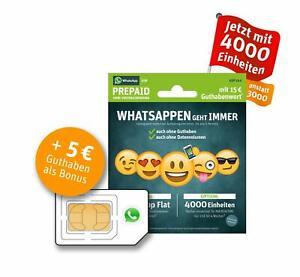 WhatsApp Sim e-plus/o2 Prepaidkarte UVP 10€,Guthaben im Wert von 15 €, 4GB Daten