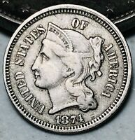 1874 Three Cent Nickel Piece 3C Higher Grade Civil War Era Good US Coin CC6554