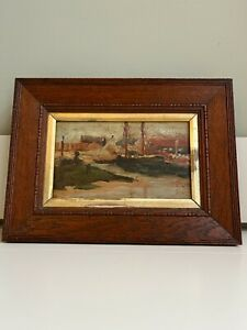 Original Painting Picture in Vintage Wooden Oak Frame Yachts Boats Scene 32x24cm