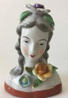 Vintage Ladies Figurine Bust Made In Japan Flowers Hand Painted