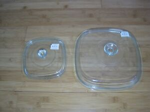 2 NEW Pyrex Glass Lids for Corning Ware Casseroles with tag A-12-C and A-9-C