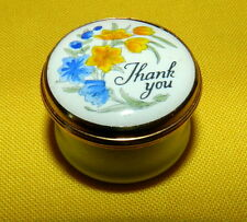 "BEAUTIFUL ENAMEL SMALL TRINKET BOX HAND PAINTED CRUMMLES ENGLAND ""THANK YOU"""