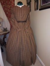 Civil War Reenactment Work Dress Size 14 Rainbow Colors Homespun
