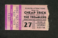 1980 Cheap Trick Tremblers Concert Ticket Stub Fresno CA I Want You To Want Me