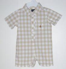 babyGAP Size 3-6 Months Boys Sesame Beige Plaids Short Sleeves Bodysuit Romper