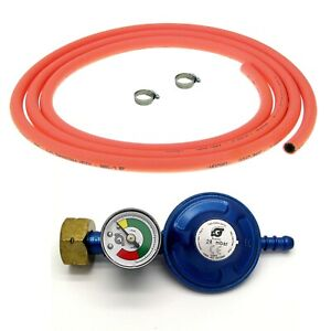 SCREW ON BUTANE GAS BOTTLE REGULATOR WITH GAS LEVEL INDICATOR 3m HOSE AND CLIPS