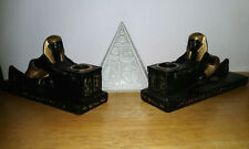 Vintage Ancient Egyptian Resin Candle Holder Pair Ramesses Statue Marked