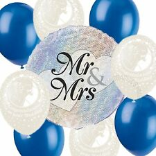 Wedding Helium Balloons Venue Table Decorations White Royal Blue Party Pack