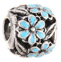 SILVER FINISH BLUE DAISY FLOWER ENAMEL CHARM BEAD FOR BRACELET OR NECKLACE