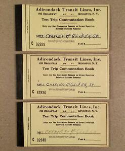 Kingston NY: Three 1950s? ADIRONDACK TRANSIT LINES 10-Trip Ticket Books - Empty
