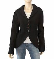 ZARA BASIC Black Boucle Curved Hem Raw Edge Jacket Blazer Coat XL