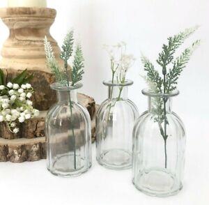 Set of 3 Ribbed Glass Bottles Small Bud Vase Vintage Style Wedding Table Decor
