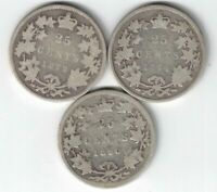 3 X CANADA 25 CENT QUARTERS QUEEN VICTORIA 925 SILVER COIN 1872H 1874H 1890H