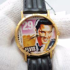ELVIS, Stamp Watch, W/Stamp, Round Dial, Black Leather Band, UNISEX WATCH 759