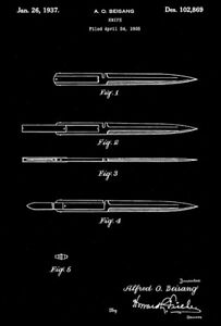 1937 - Knife - A. O. Beisang - Patent Art Poster
