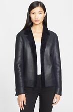 Helmut Lang Genuine Shearling Reversible Jacket in Navy blue Size:XS $2195 NWT