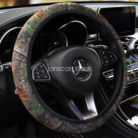 "New 15"" Universal Camo Bark Stretchy Neoprene Car Steering Wheel Cover Grip"
