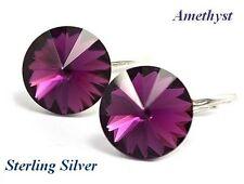 *STERLING SILVER* - RIVOLI - Amethyst Earrings made with Swarovski Crystals