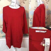 Brand New ISLE Size M 14 - 16 Red Tunic Long Jumper Dress Knitwear Autumn