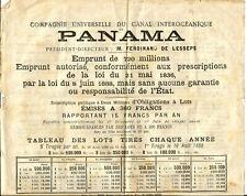 Panama Canal. Rare document 1888. Voir Photos.