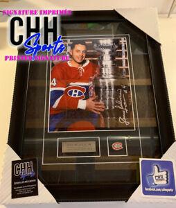 JEAN BELIVEAU #4 Montreal Canadiens Printed Signed Frame Cadre Stanley Cup HOF