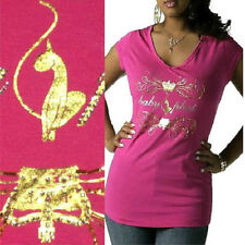 NWT BABY PHAT Jeweled Rhinestone STUDDED Logo Front PINK Shirt 1X 14 16