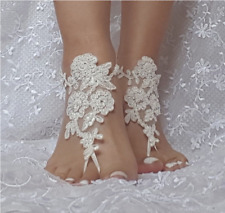 White Wedding Foot Chain Barefoot Sandal Beach Anklet Wedding Shoe Lace US Stock